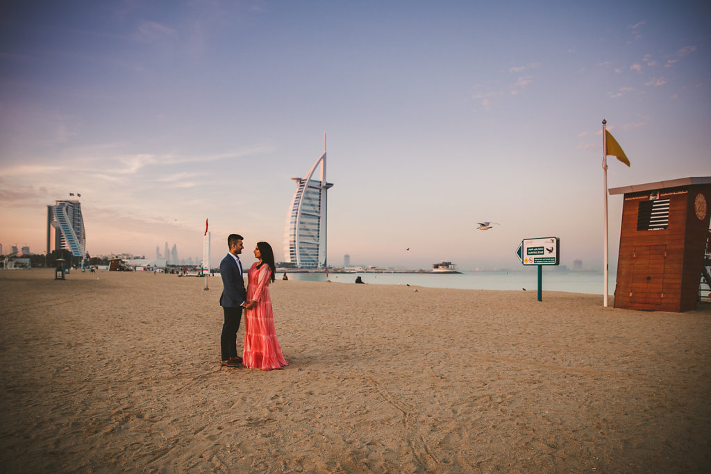 Dubai Beach Morning Pre Wedding Photoshoot